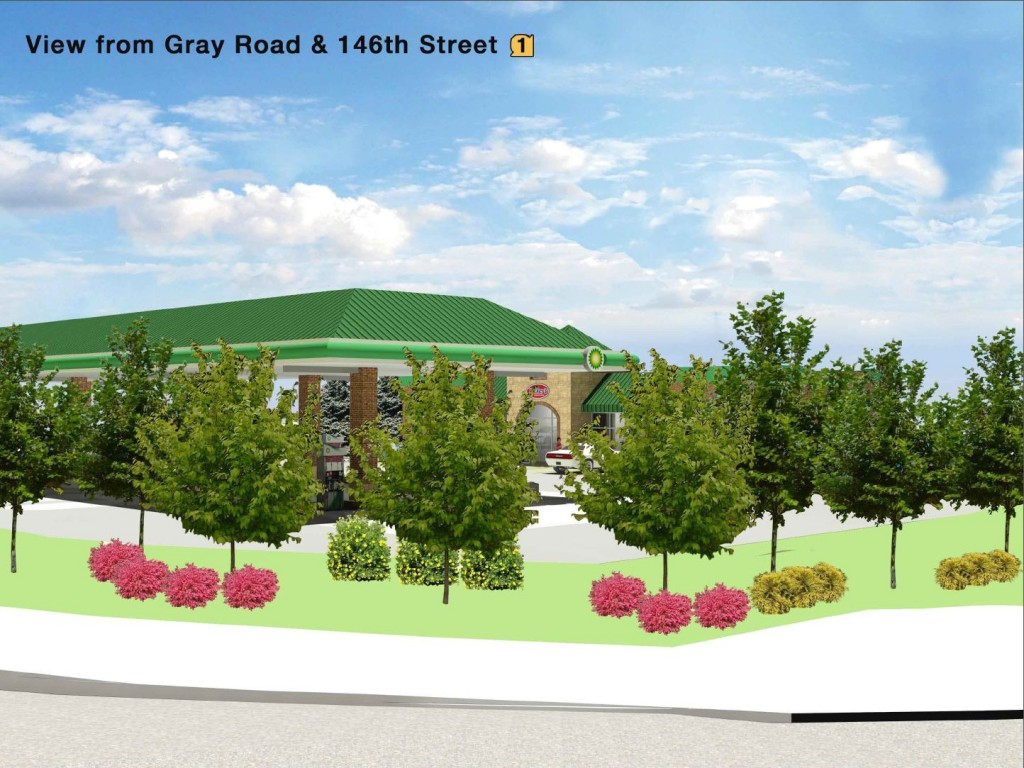 A view of the proposed Ricker's gas station rom the intersection of 146th Street and Gray Road. (Submitted rendering)