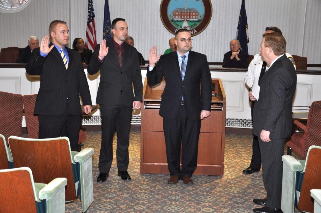 From left, Officer Jonathan Rice, Officer Luke Gosset and Officer Christopher Bay