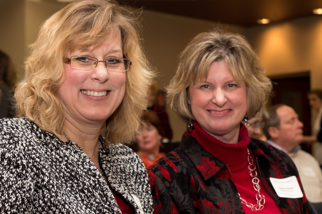Diane Ballard and Dena Stirn smile for the camera while at the Carmel Clay Public Library Annual Donor Recognition Reception.