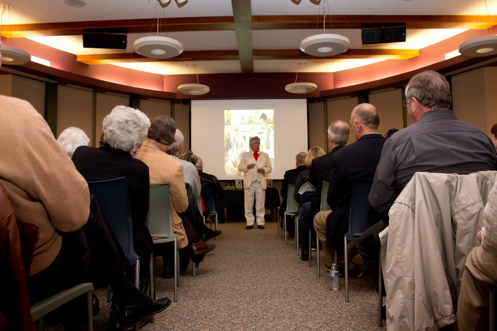 Mark Twain, played by David Ehlert, speaks to the donors at the Carmel Clay Public Library Annual Donor Recognition Reception. (Photos by Brian Bosmer)