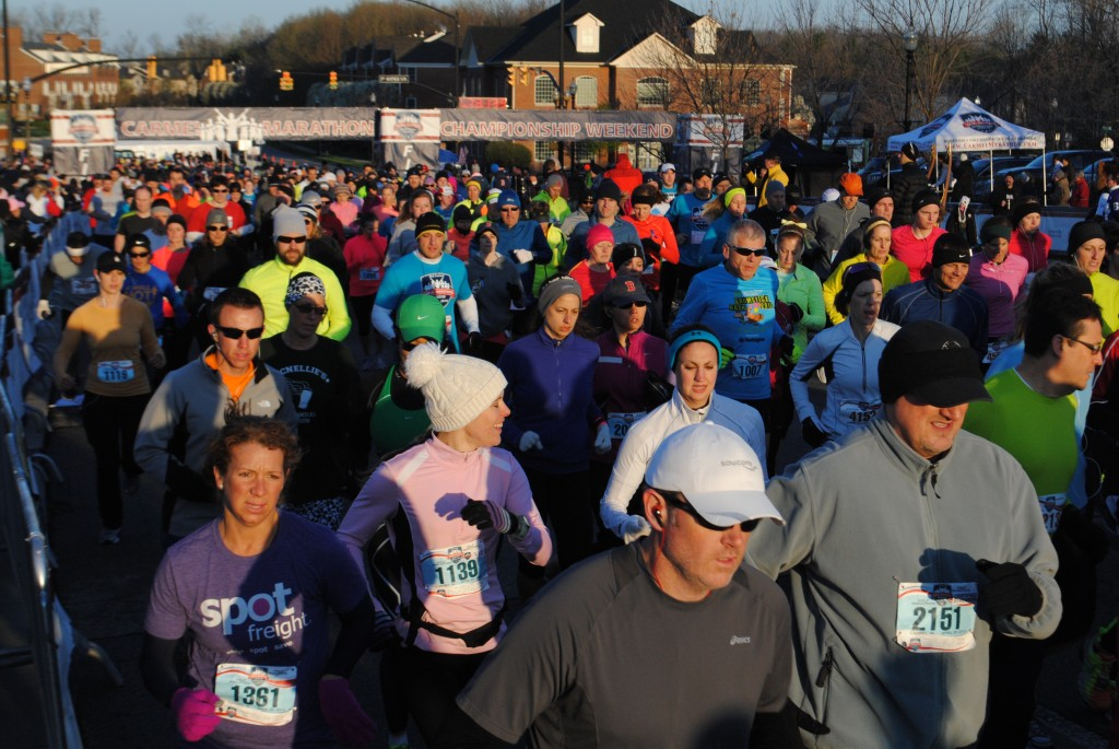 The marathon and half-marathon kicked off during the early morning of April 20. Even with temperatures in the 30s, the participants were ready to run. (Photos by Christian Sorrell)