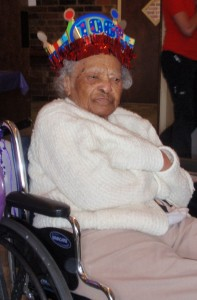 Sally Bradley at 106 birthday party