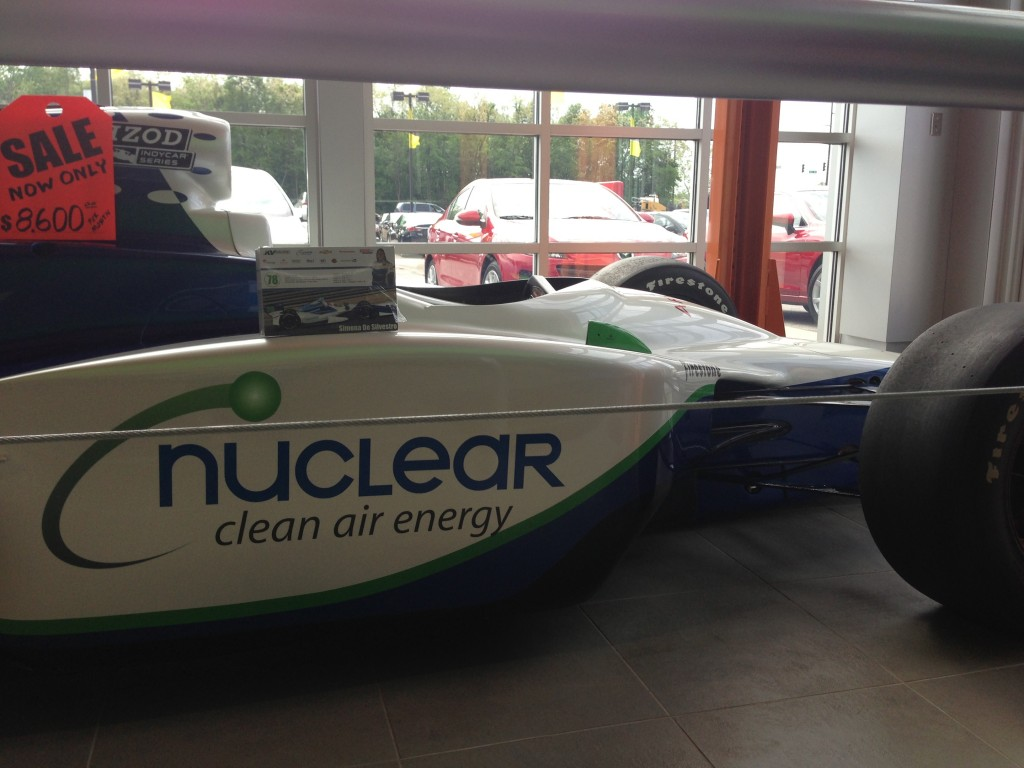 Simona De Silvestro's Indy car was on display at Tom Roush Lincoln Mazda last week. Onlookers were jokingly given the opportunity to buy the car for the bargain-basement price of only $8,600 a month.