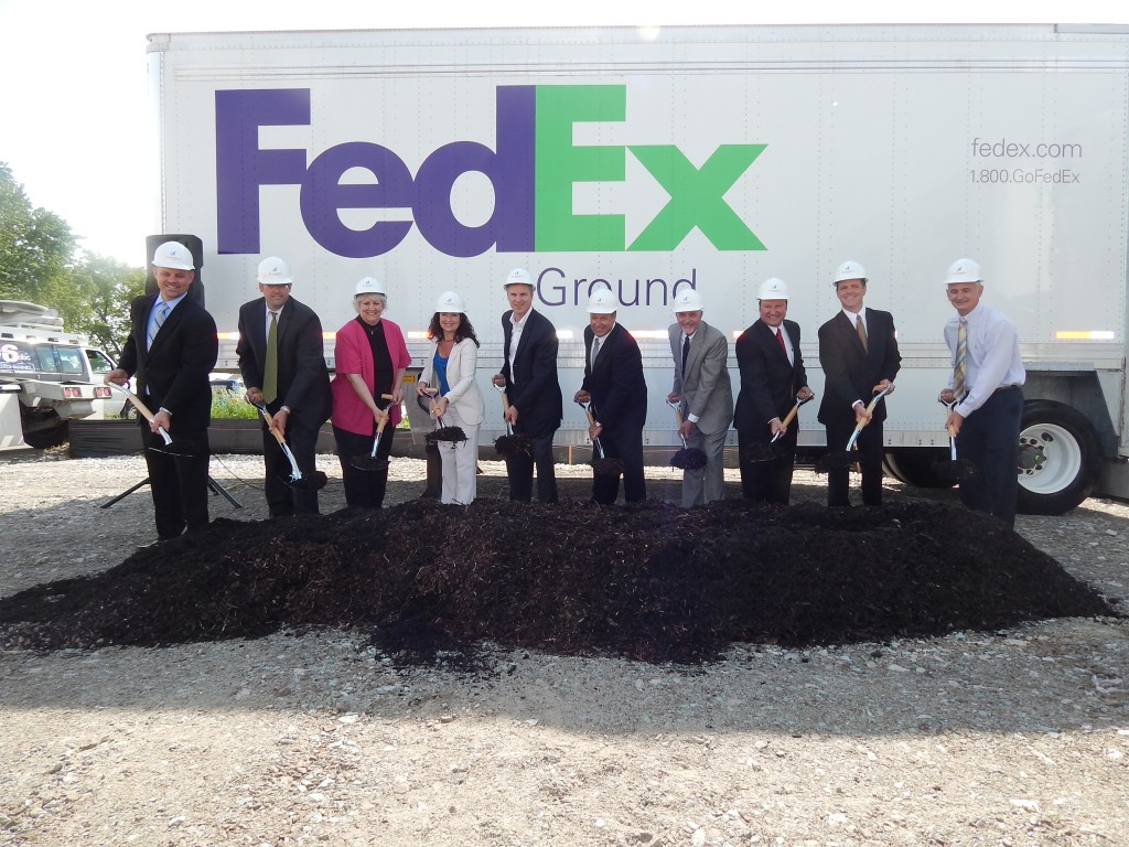Groudbreaking ceremony on May 29, from left: Ryan Gallmeyer, Scannell Properties; Pat Super, FedEx Ground; Candace Ulmer, town council; Susana Suarez, town council; Steve Braun, State Rep. District 24; Scott Burns. FedEx Ground; Steve Mundy, town council; Bret Stecovich, town council; Tim Haak, town council, Matt Plassman, Zionsville Redevelopment Commission. (Photo by Janelle Morrison)