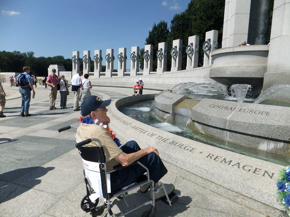 A veteran gazes on the new WWII Memorial in Washington D.C. on Sept. 7. (Photo by Ronald P. May)
