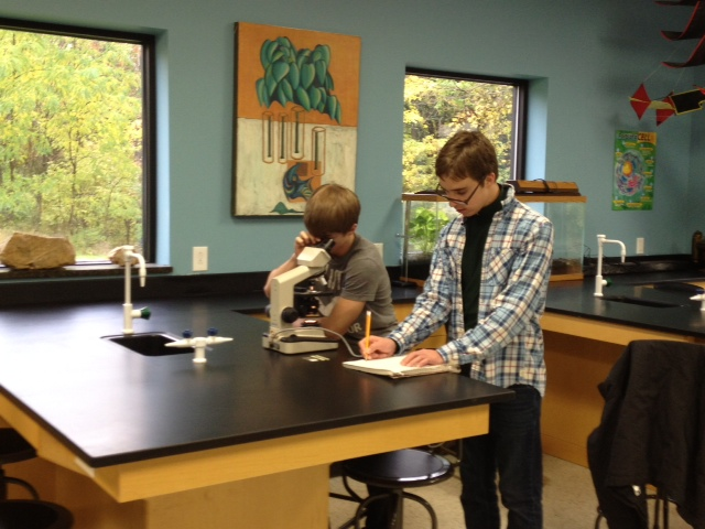 Midwest Academy students enjoy the new science lab stations at the school's new location in Carmel. (Submitted photo)