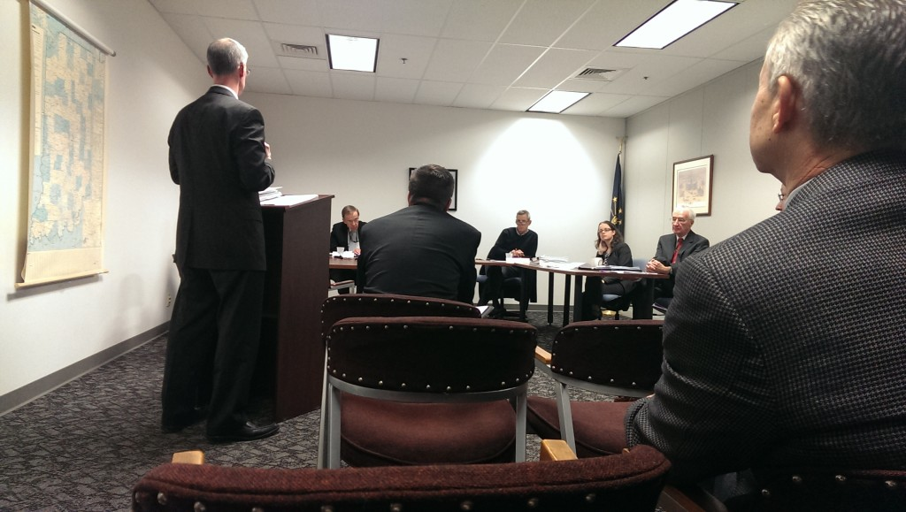 The two members of Indiana Education Employment Relations Board listen to arguments from lawyers for Carmel schools and the Carmel teachers association. (Staff photo)