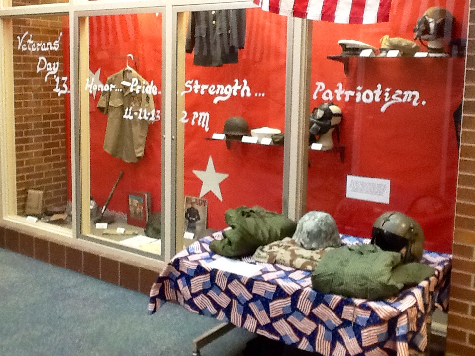 : Lantern Road Elementary School's display case in honor of Veteran's Day 2013. (Submitted Photo.)