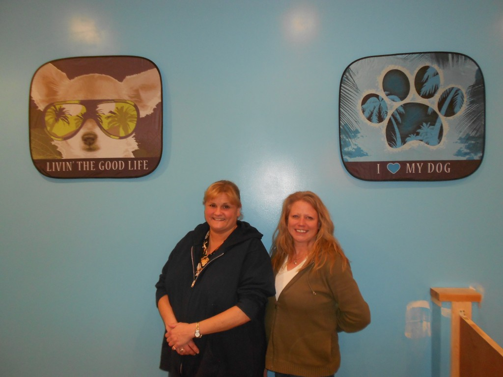Club Canine owner Kera Slowitsky, left, and manager Holly Anderson like to provide plenty of activities for the dogs they supervise during day care hours. (Staff photo by Gary Boskovich.)
