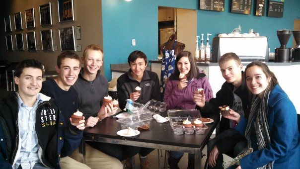 "CHS students enjoy one last ""cuppie"" after school. From left, Danny Yount, Joey Miller, Ethan Stanley, Kanji Lanham, Jessie Meltzer, Michael Wimer and Stephanie Caress. (Staff photo by Karen Kennedy)"