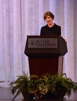 Former First Lady Laura Bush spoke at Butler's Clowes Memorial Hall on Feb. 24. Bush spoke about her work as the Chair of the Women's Initiative at the George W. Bush Institute and how she continues to work on behalf of global healthcare innovations, empowering women in emerging democracies, education reform and supporting the men and women who have served in America's military. (Staff photo by Dawn Pearson)
