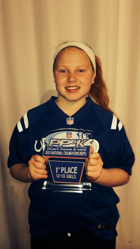 Heritage Christian School seventh-grader Sophia Saucerman recently represented the Indianapolis Colts in the 2013 Punt, Pass & Kick National Championships in Denver. (Submitted photo)