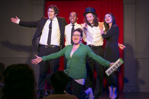 Members of the Second City traveling ensemble from left: front: Rachel LaForce; rear: Nick Rees, Chris Redd, Kellen Alexander and Christine Tawfik (Photo by Todd Rosenberg)