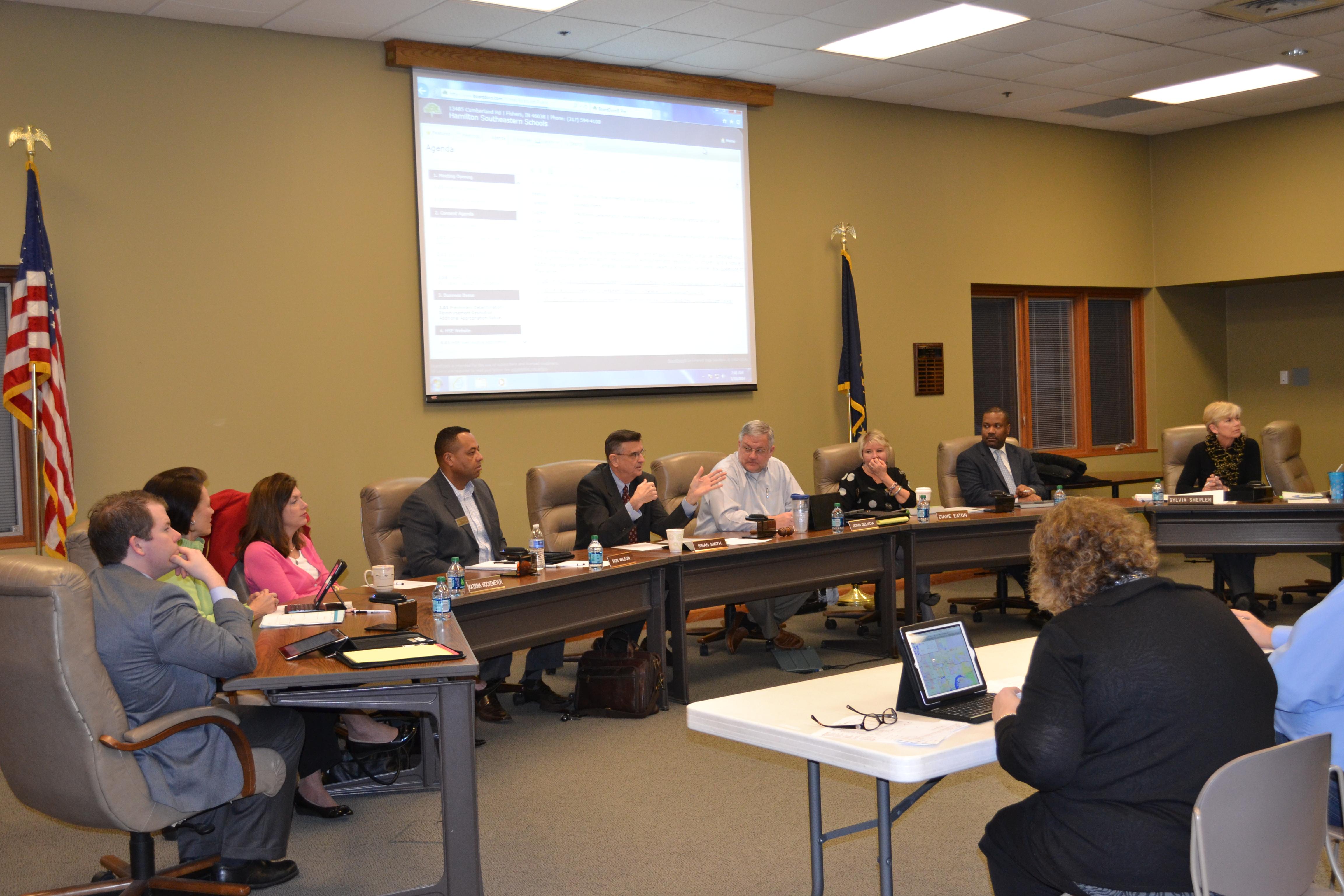 Hamilton Southeastern School Board members in discussion on March 10. (Photo by Ann Craig-Cinnamon)