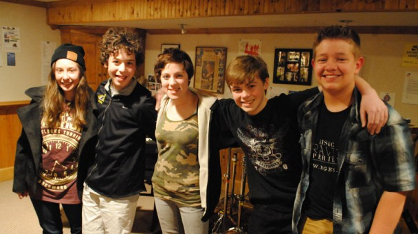 The band Rising Gravity Experience, from left, Lizzy Raimondi, Ashton Dean Gleckman, Emma Boyd-Ryan, Jack Loub and Sam Sherman will have a CD release party from 6 to 9 p.m. April 26 at Studio 37 in Fishers. (Staff photo by Adam Aasen)