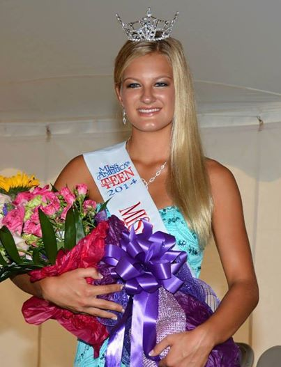 Paige Harder smiles as she is awarded during Miss Fall Festival last year. This year's competition is on Sept. 7, in the Zionsville Town Hall Community Room. (Submitted photo.)