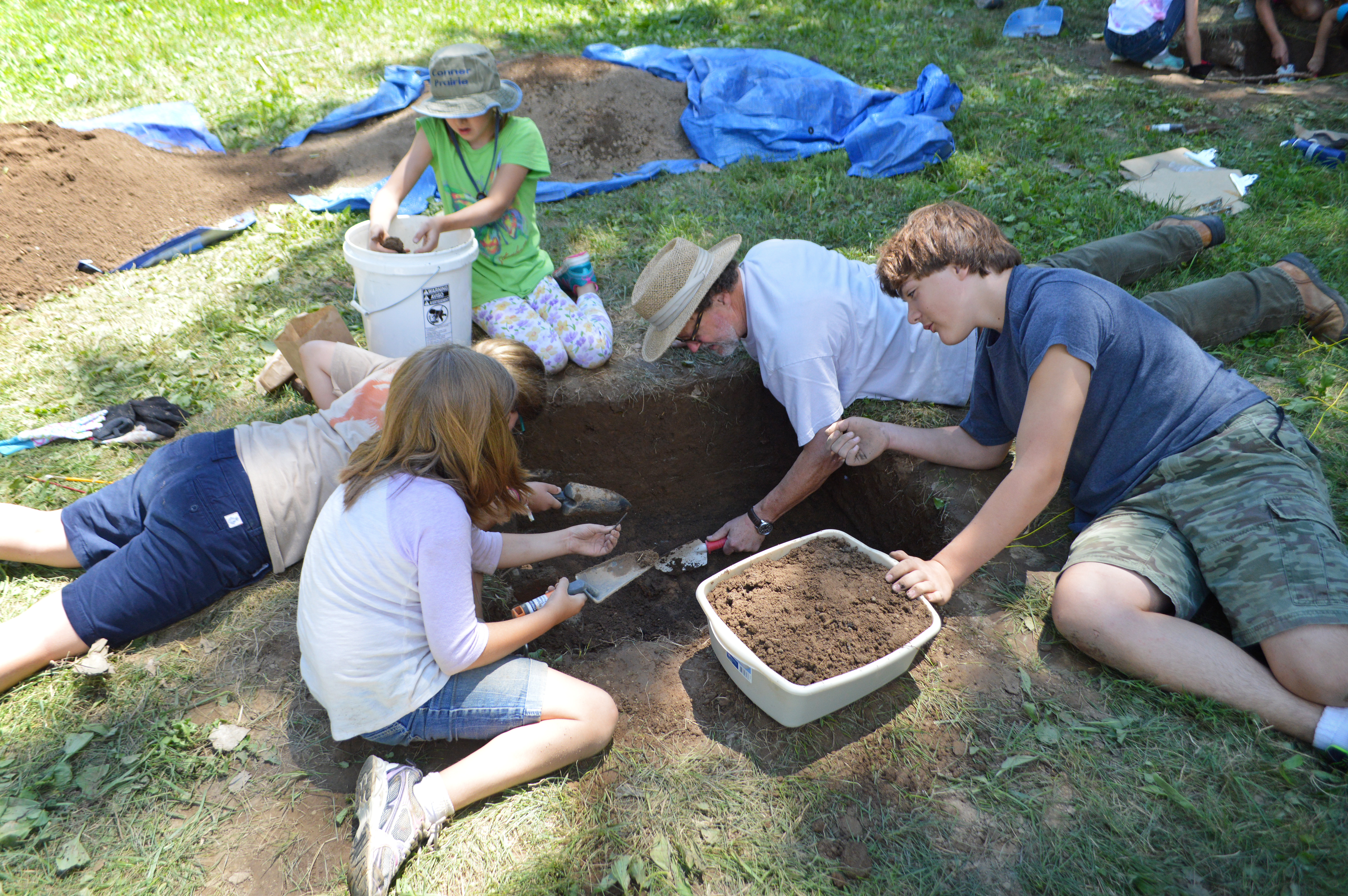 Conner Prairie archaeology campers uncover finds during camp. (Submitted photo)