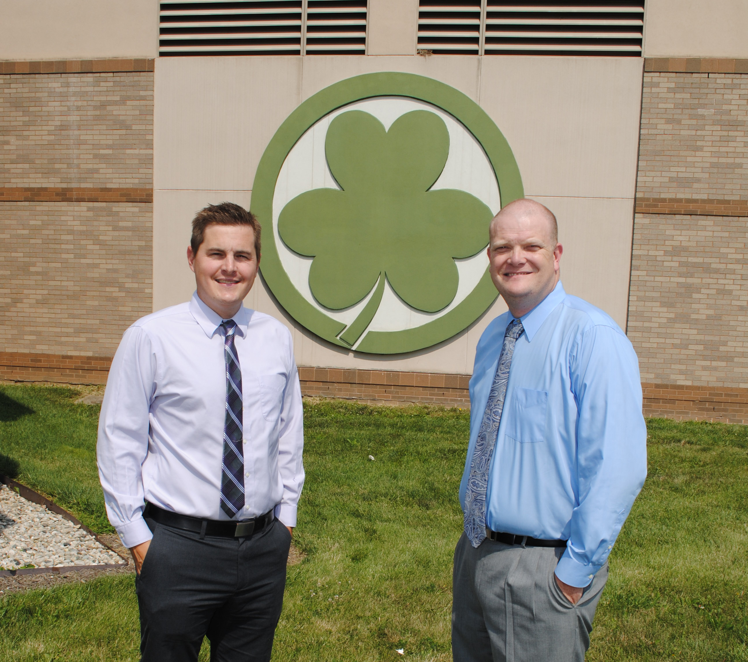 Ryan Haughey, left, and Corey Hartley have each taught and served as assistant principal at the middle and intermediate school respectively before being named principals this summer. (Photo by Robert Herrington)