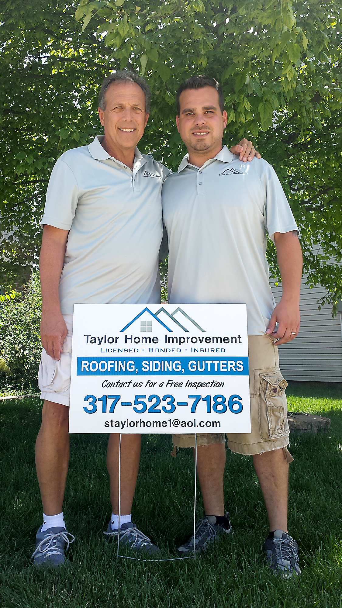 Steve Taylor, CFO of Taylor Home Improvement, left, and Adam Taylor, owner and field director, left their jobs to start a roofing/gutter/siding business. (Submitted photo)