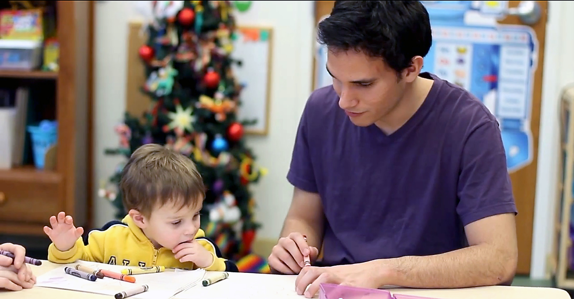 Bruno Marini, children's care manger, talks with a child at Alternatives in Anderson. (Submitted photo)