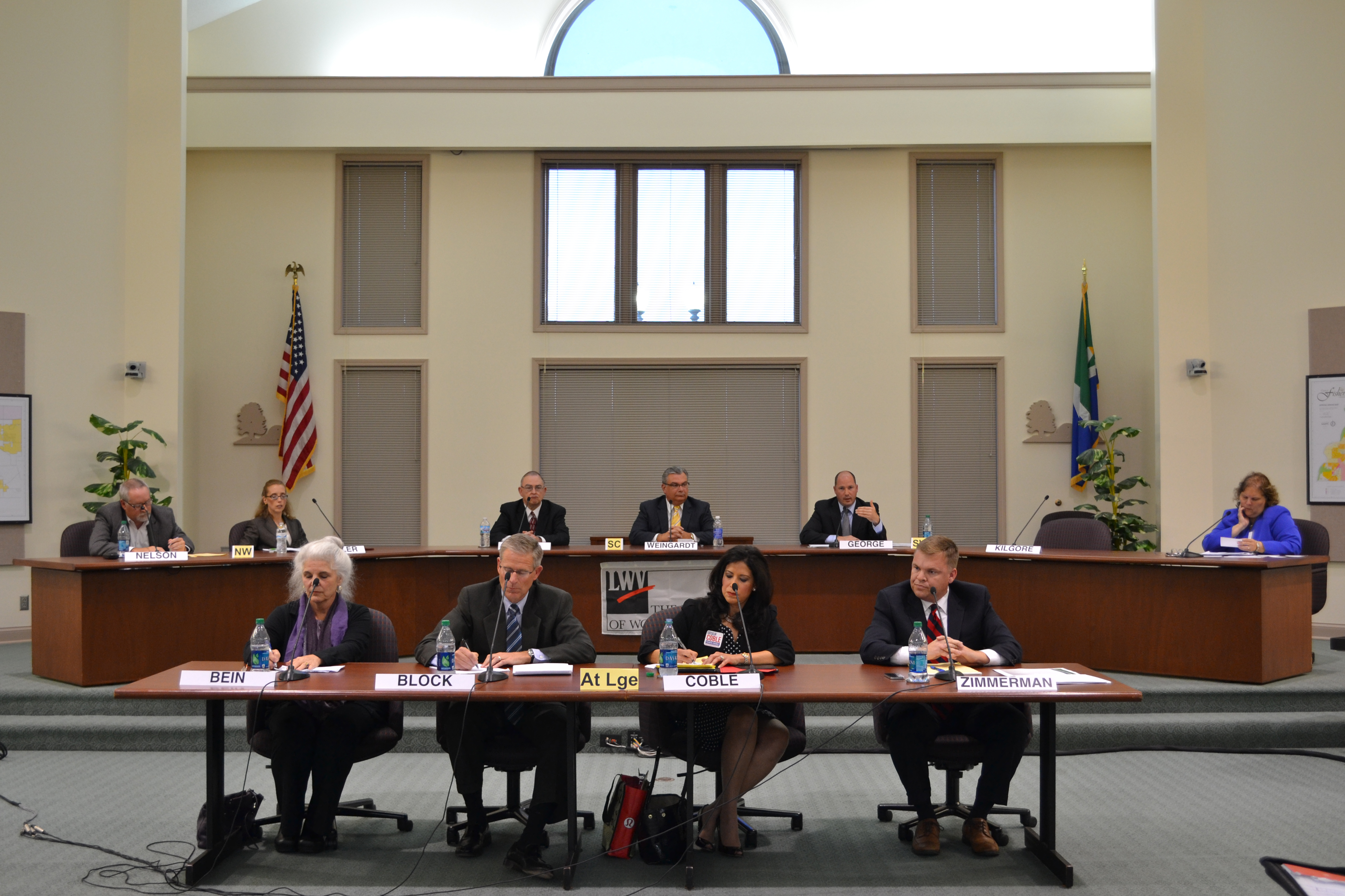 The candidates for Fishers City Council in contested races took part in a forum Oct. 8 sponsored by the League of Women Voters. (Photo by Ann Craig-Cinnamon)