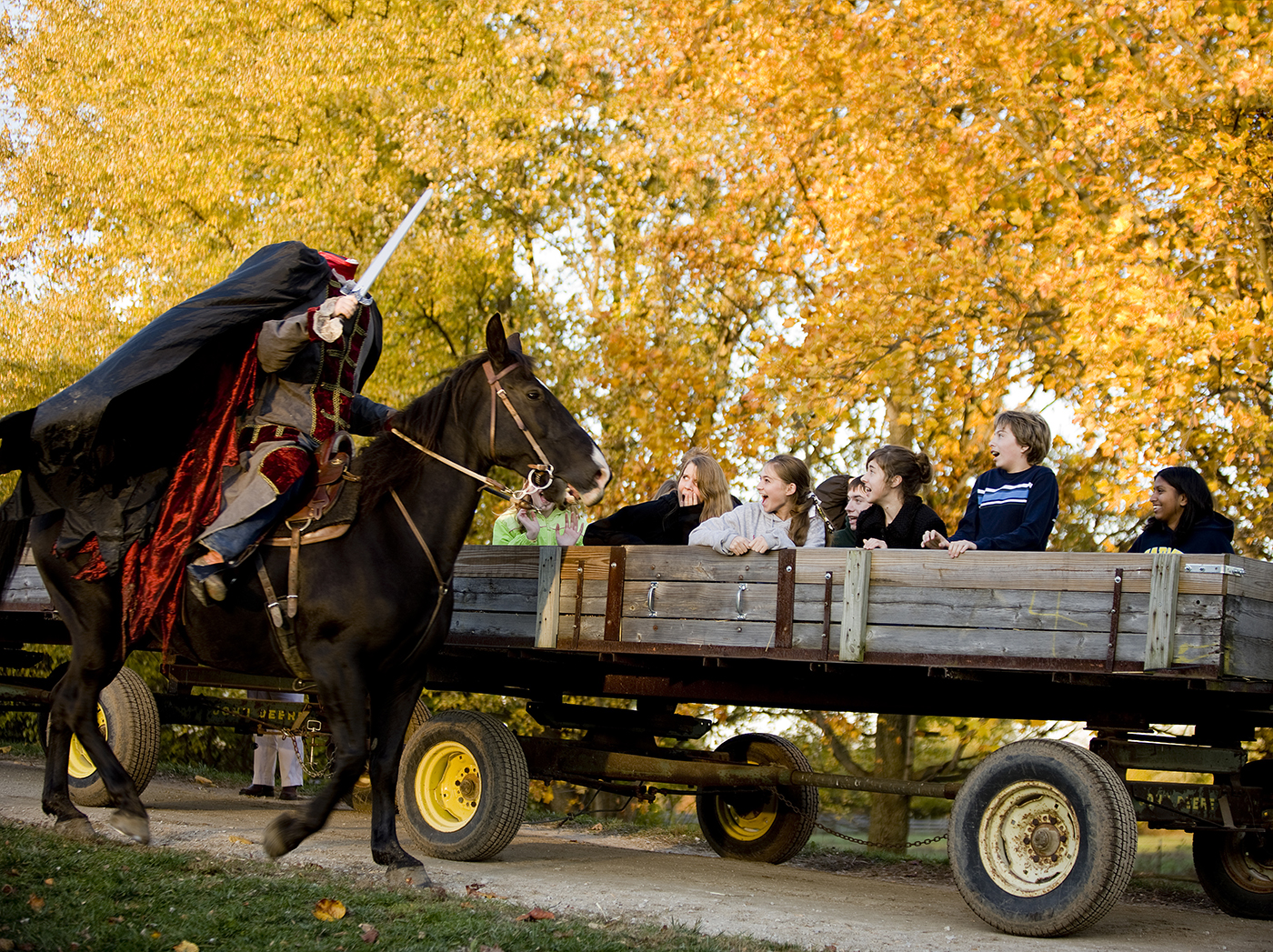 The Headless Horseman startles a crowd of guests on the grounds of Conner Prairie. The 31st annual Headless Horseman fall family tradition runs through Oct. 26.