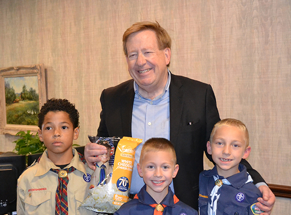 Mayor Jim Brainard stands with Jayden Joyce,Chase Clem, and Caleb Clem. (Submitted photo)
