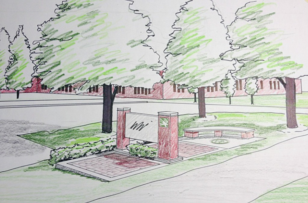 A rendering of Eagle Plaza shows where the alumni bricks will be placed along Mulberry Street in front of Zionsville Community High School. (Submitted drawing)
