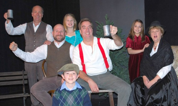 """Cast members for Carmel Theatre Company's """"A Child's Christmas in Wales"""" include: back row, from left, Kurt Pantzer and Bella Doss; middle row, Will Doss, David Ballard, Ellen Gardner and June McCarty Clair; kneeling, Dalyn Stewart. (Submitted photo)"""