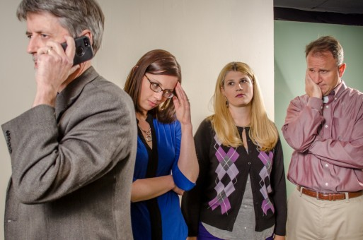 """(From left) Larry Adams, Theresa Koleszar, Tanya Haas and Kirk Horn rehearse a scene from """"God of Carnage."""" (Photo by Roger Manning)"""