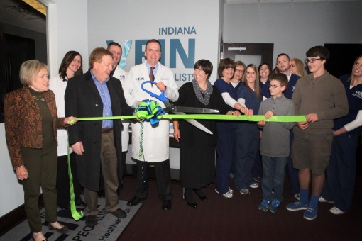 Last month, the second location of Indiana Vein Specialists at 10485 Commerce Dr. Suite 100, in Carmel, celebrated its opening with a ribbon cutting. From left to right: Mo Merhoff (Chamber), Shaina Boone, Mayor Jim Brainard, Daryl Eckstein, Dr. Jeff Schoonover, Kari Schoonover, Diana Clauson, Dona Rice, Jamie Miller, Natalie Gilman, Kristian Schoonover, Nathan Watson, Maggie Haley, Erik Schoonover, Rachelle Harkenrider.