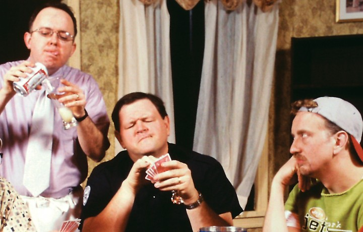 """Returning from Beef & Boards' 2001 cast to perform in the upcoming production of """"The Odd Couple"""" are (from left): Eddie Curry as Felix Unger, Dan Scharbrough as Murray, and Jeff Stockberger, who will play Oscar Madison. (Submitted photo)"""