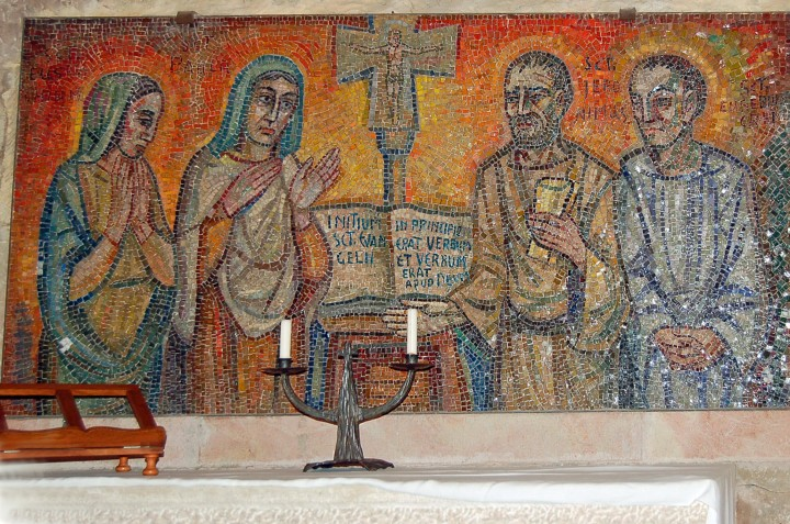 Saints Eustochium, Paula, Jerome, and Eusebius of Cremona in Jerome's Bethlehem Cave (Photo by Don Knebel)