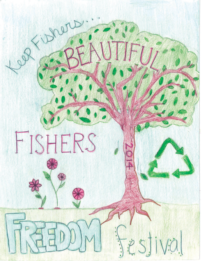 """The 27th annual T-shirt design contest for the Fishers Freedom Festival is currently accepting drawings from any student, Kindergarten through eighth grade, residing in the Hamilton Southeastern district. This year's theme is """"Where Families and Friends Unite."""" Pictured is last year's winning design by Emma McCord."""