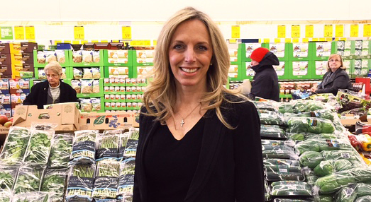 Laura Bauer, VP of Aldi Greenwood, at the opening of the new Carmel Aldi. (Photo by Jillian Albrecht)