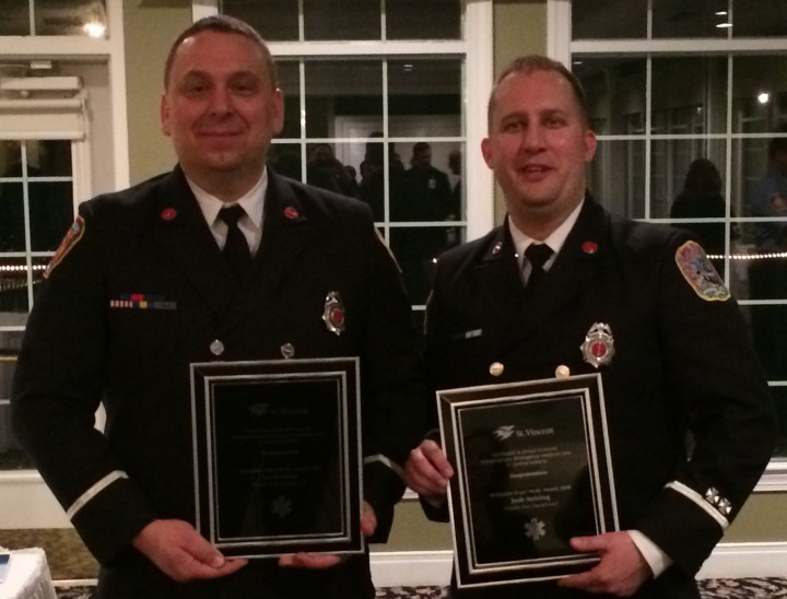 Lt. Joe Harding and Lt. Josh Mehling receive recognition at awards dinner. (Submitted photo)