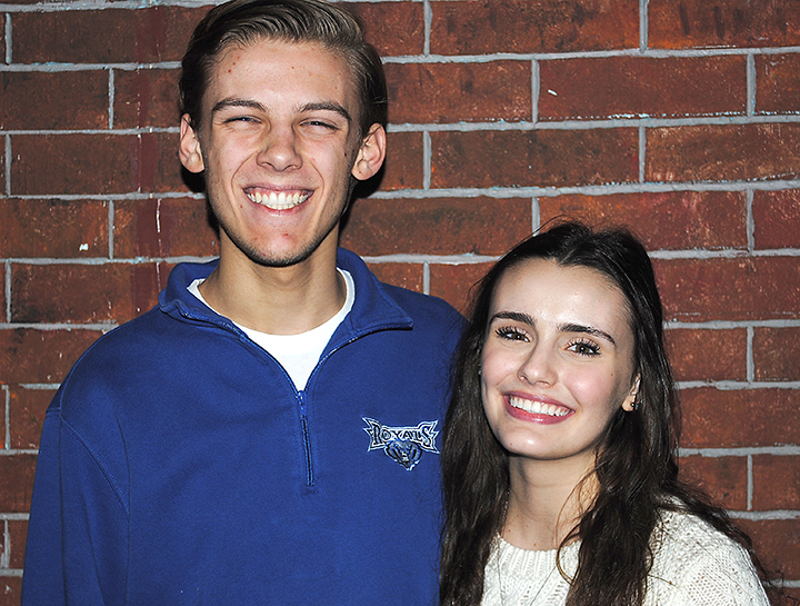 """Junior Sam Adams and Senior Zoe Turner appear in """"Legally Blonde - The Musical"""" at HSE. (Photo by Mark Ambrogi)"""