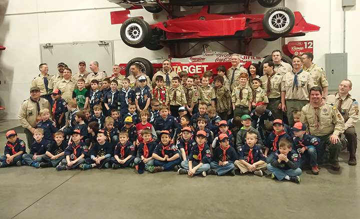 Cub Scout Pack 105 of Zionsville held its annual Pinewood Derby March 7 at Chip Ganassi Racing Headquarters in Indianapolis. (Submitted Photo)