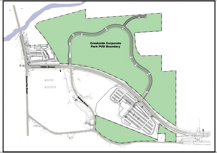 The Creekside Corporate Park PUD runs along 106th St. east of Zionsville Road. (Submitted rendering)