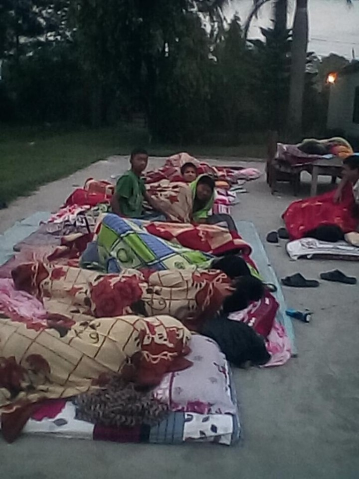 Children at the orphanage in Nepal supported by YETI are spending the night outside in sleeping bags until the building can be checked for structural safety.