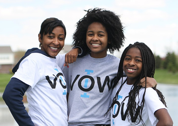 Latisha (from left), Nailah and Nishara Johnson aim to discourage discrimination with IVOW. (Photo courtesy of Keeley Miller Photography)