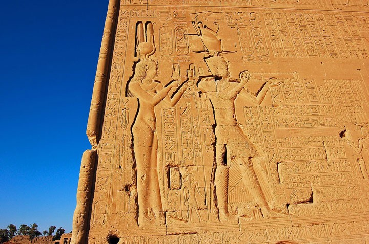 Cleopatra and Caesarion on Temple of Hathor (Photo by Don Knebel)