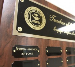 The first teacher of the year plaque. (Photo by Sadie Reecer)