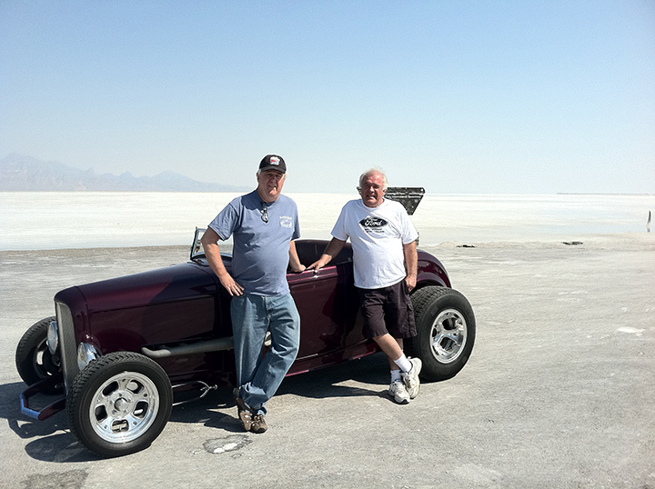 Ken Gardner (left) and Steve Norfleet with his '32 Ford at the Bonneville Slat Flats in Utah. (Submitted photo)