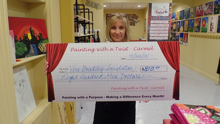 Carmel Painting with a Twist owner Jeanne Shirley raised $810 for the Vera Bradley Foundation at a recent fundraiser. (Submitted photo)