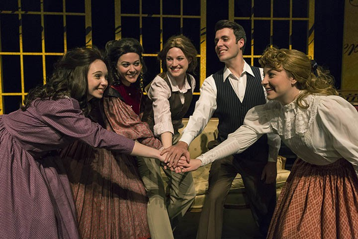 """From left: Beth March (Amanda Kennedy), Meg March (Betsy Norton), Jo March (Julia Bonnett), Laurie Lawrence (Ethan Litt) and Amy March (Karen Hurt) in """"Little Women the Broadway Musical."""" (Submitted photos)"""