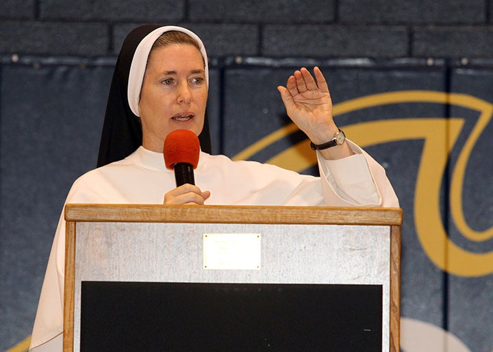 Sister Mary Emily Knapp, principal of Our Lady of Mount Carmel Catholic School, speaks to the students assembled Sept. 30. (submitted photo)