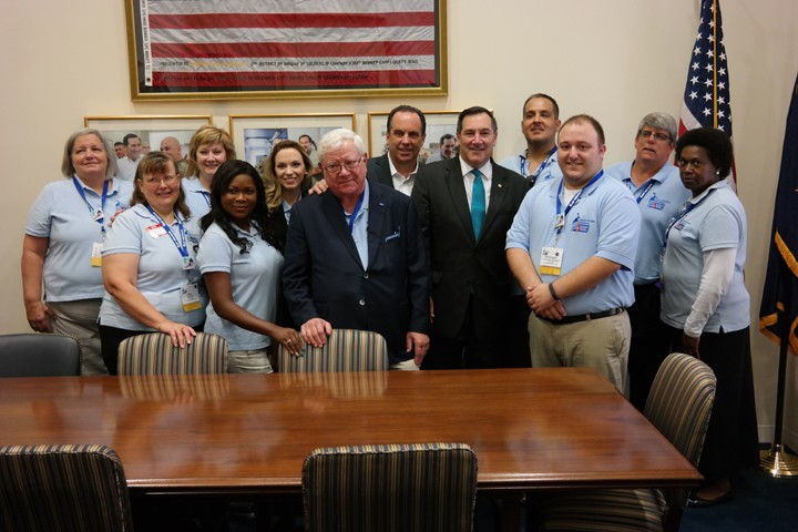 Aurmaudra Bradley (front, second from left) and other Indiana cancer advocates met with Sen. Joe Donnelly in Washington, D.C. Sept. 29. (Submitted photo)