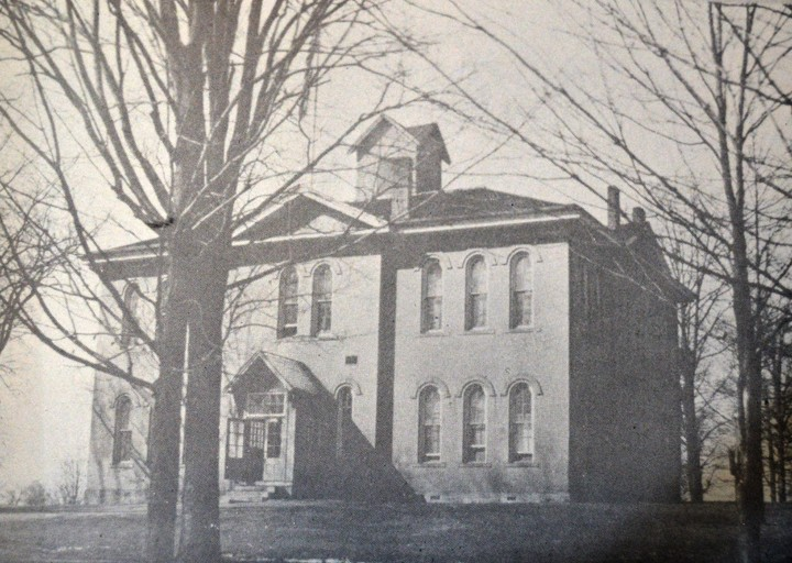 Zionsville's first school building began as a boarding school for boys but eventually held an elementary school on the first floor and a high school on the second. (Submitted photo)