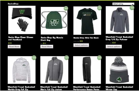 The Rocks Shop flier shows some of the spirit wear sold at the new store at WHS. (Submitted image)